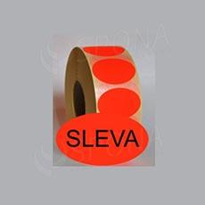 """Samolepící etikety Elipsa 43 x 30 """"SLEVA"""", červené, 1.000 ks"""