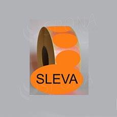 """Samolepící etikety Elipsa 43 x 30 """"SLEVA"""", oranžové, 1.000 ks"""