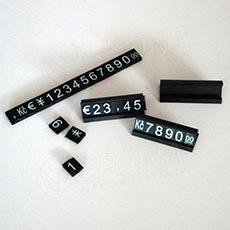 Cenovky Q 6, 8 x 12 mm, sada 280 znaků + 20 stojánků