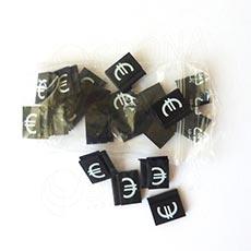 Cenovky Q 6, 8 x 12 mm, náhradní znak €, 20 ks, bílý tisk