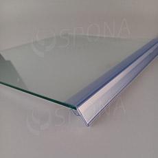 Cenovková lišta na polici o tloušťce 5 až 10 mm, výška 26 mm, délka 997 mm, transparentní