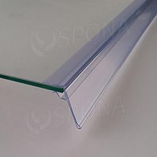Cenovková lišta na polici 5 - 10 mm, 60 x 1247 mm, sklon 45°, transparentní