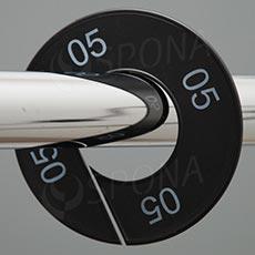 Velikostní kruhy 05 černé, bílé písmo