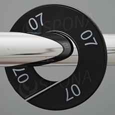 Velikostní kruhy 07 černé, bílé písmo