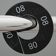 Velikostní kruhy 08 černé, bílé písmo