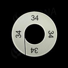 Velikostní kruhy 34 bílé, černé písmo