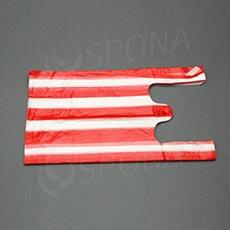 Taška HDPE, nosnost 4 kg, červenobílá, 22 + 10 x 44 cm, 100 ks