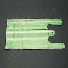 Taška HDPE, nosnost 4 kg, zelenobílá, 22 + 10 x 44 cm, 100 ks