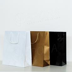 Taška papírová LAMINO 22x10x27 cm, černá lesklá