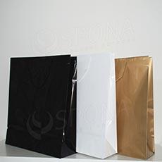 Taška papírová LAMINO 35x13x31 cm, černá lesklá