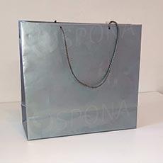 Taška papírová LAMINO 35x13x31 cm, stříbrná lesklá