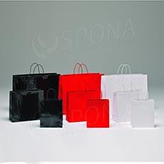 Taška papírová LUXURY 22+10x27+6 cm, bílá, bavlněné ucho