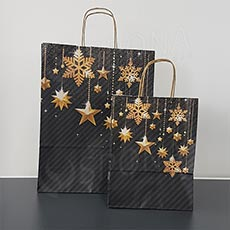 Taška papírová STARS, 22+10x29 cm, vánoční vzor