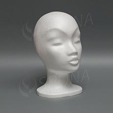 Hlava dámská MONA nízká, polystyren, bílá