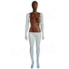 Figurína dámská WOOD 310, matná bílá, dřevěný dekor