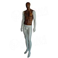 Figurína pánská WOOD 310, bílá matná, dřevěný dekor