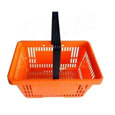 Košík nákupní s jednou rukojetí, oranžový plast