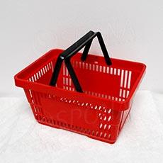 Košík nákupní se dvěma rukojeťmi, červený plast