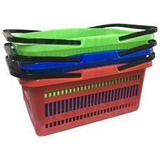 Košík nákupní se dvěma rukojeťmi, mix barev