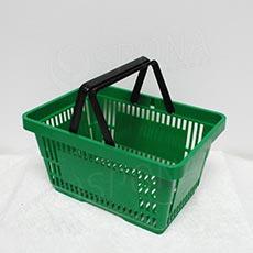 Košík nákupní se dvěma rukojeťmi, zelený plast