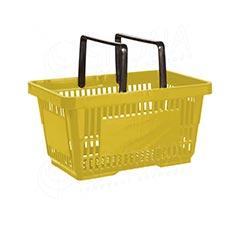 Košík nákupní se dvěma rukojeťmi, žlutý plast