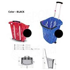 Košík nákupní na kolečkách, objem 38 l, černý plast