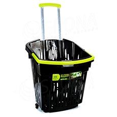 Košík nákupní na kolečkách ECO, objem 38 l, černý plast
