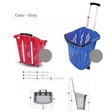 Košík nákupní na kolečkách, objem 38 l, šedý plast