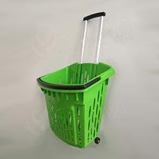 Košík nákupní na kolečkách, objem 38 L, zelený plast AC
