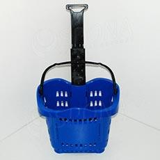 Košík nákupní na kolečkách, objem 43 L, modrý plast
