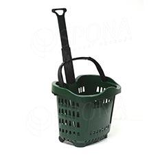 Košík nákupní na kolečkách, objem 43 L, zelený plast