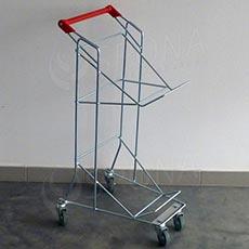 Vozík pro dva nákupní košíky, pojízdný, s madlem