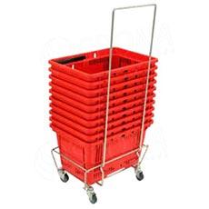 Vozík pro nákupní košíky KP, pojízdný s úchytem