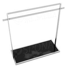 Štendr 1220 s policí, výška 135 cm, šířka 120 cm, nerez a černé sklo