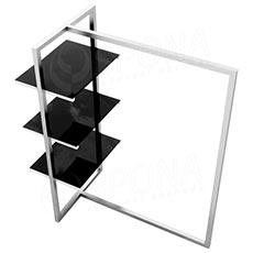 Štendr 1222 s policemi, výška 135 cm, šířka 100 cm, nerez a černé sklo