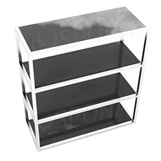 Štendr 1225 s policemi, výška138 cm, šířka 120 cm, nerez a černé sklo