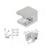 WALL držák police 25x18 mm, pro tloušťku do 9 mm, chrom