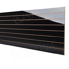 SLAT panel 240 x 120 cm, rozteč 10 cm, terminal, bez insertů, vysoký lesk černý (black)
