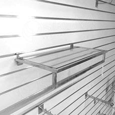 SLAT rám police 663 x 300 mm s věšákovou tyčí a skleněnou policí