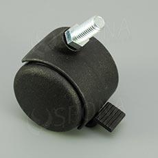 Kolečko průměr 50 mm, závit M10 x 20 mm, s brzdou, plast