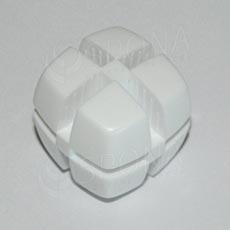 Kostka KUBIK 25 mm, pro sklo 4 mm, bílá