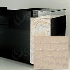 Čelní panel pro prodejní pult UNO, umělá kůže, smetanová