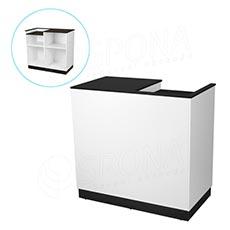 Pult pokladní BASIC 99, 1200 x 600 x 990 mm, bílé a černé LTD