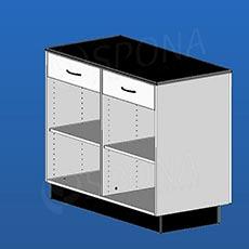 Pult prodejní BOX, 2 zásuvky, 1200 x 600 x 940 mm, bílé a černé LTD