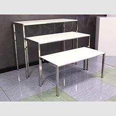 Stolek výstavní 810 x 400 x 380 mm, chrom, bílá LTD