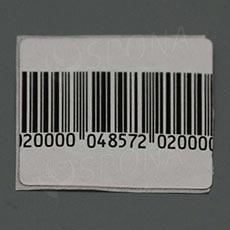 Bezpečnostní etiketa 8,2 MHz, papírová, 40 x 40 mm s čárovým kódem